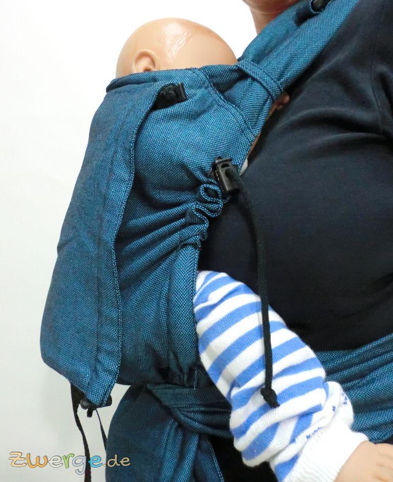 seitliche Bänder mit Kordelstopper zum Anpassen des Rückenteils beim Storchenwiege Carrier